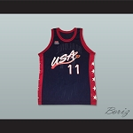 1996 Karl Malone 11 USA Team Away Basketball Jersey