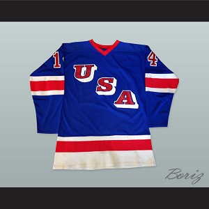 1980 Ralph Cox 14 USA Blue Hockey Jersey