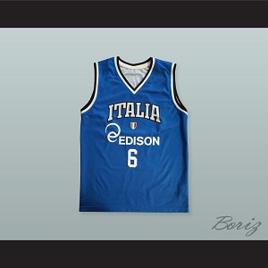 Stefano Mancinelli 6 Italia Basketball Jersey with Patch