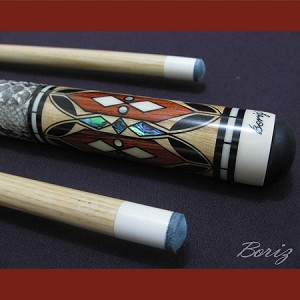Boriz Billiards Snake Skin Grip Pool Cue Stick Original Inlay Artwork 017