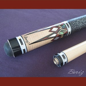 Boriz Billiards Linen Grip Pool Cue Stick Original Inlay Artwork 043