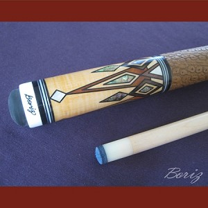 Boriz Billiards Brown Snake Skin Grip Pool Cue Stick Original Inlay Artwork 044