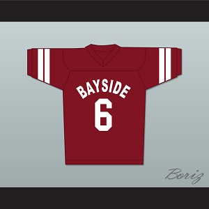 AC Slater 6 Bayside Tigers Football Jersey Maroon Saved By The Bell