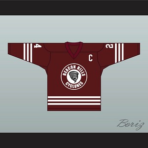 Stiles Stilinski 24 Beacon Hills Cyclones Hockey Jersey Teen Wolf TV Series Maroon