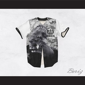 The Notorious B.I.G. 21 Gray Camouflage Crown Design Baseball Jersey