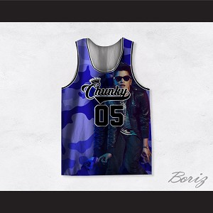 Bruno Mars 05 Chunky Blue Camouflage Basketball Jersey