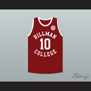 Ronald 'Ron' Johnson 10 Hillman College Maroon Basketball Jersey with Eagle Patch