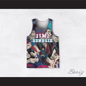 Jimi Hendrix 10 Comic Book Style Basketball Jersey