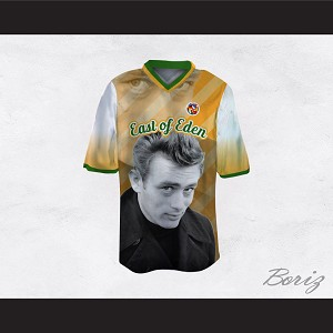 James Dean 08 East of Eden Yellow Striped Football Jersey