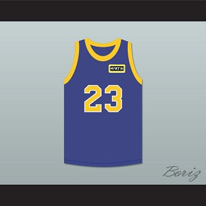 Martin Payne 23 Blue Basketball Jersey with Martin Patch