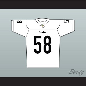 Lawrence Taylor Luther 'Shark' Lavay 58 Miami Sharks Football Jersey Any Given Sunday Includes AFFA Patch White
