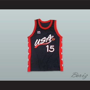 1996 Hakeem Olajuwon 15 USA Team Away Basketball Jersey