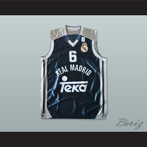 Sasha Djordjevic 6 Real Madrid Dark Blue Basketball Jersey