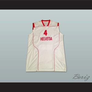 Switzerland Helvetia 4 National Team White Basketball Jersey