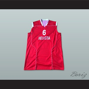 Switzerland Helvetia 6 National Team Red Basketball Jersey