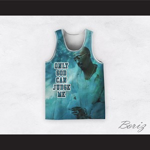 Tupac Shakur 12 Only God Can Judge Me Heaven Basketball Jersey