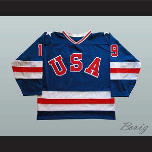 1980 Miracle On Ice Team USA Eric Strobel 19 Hockey Jersey Blue