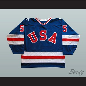 1980 Miracle On Ice Team USA Mike Ramsey 5 Hockey Jersey Blue