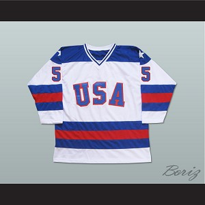 1980 Miracle On Ice Team USA Mike Ramsey 5 Hockey Jersey White