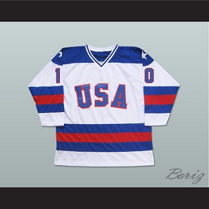 1980 Miracle On Ice Team USA Mark Johnson 10 Hockey Jersey White