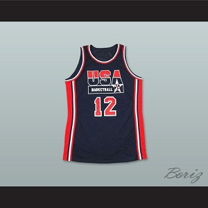 1992 John Stockton 12 USA Team Away Basketball Jersey