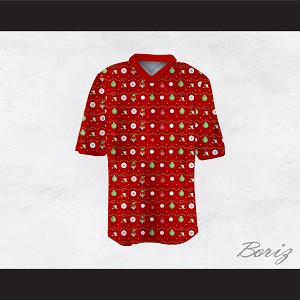 Super Mario Ugly Christmas Sweater Dye Sub Print Red Football Jersey
