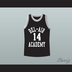 THE FRESH PRINCE OF BEL-AIR WILL SMITH BEL-AIR ACADEMY BLACK BASKETBALL JERSEY