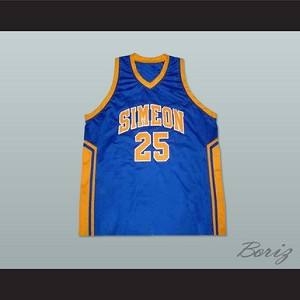 uk availability 40350 ae9ab DERRICK ROSE SIMEON HIGH SCHOOL BASKETBALL JERSEY BLUE