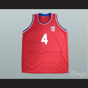 DRAZEN PETROVIC 4 CROATIA RED BASKETBALL JERSEY