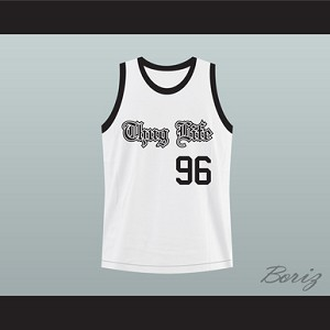 THUG LIFE 2PAC SHAKUR WHITE BASKETBALL JERSEY ANY NUMBER OR PLAYER